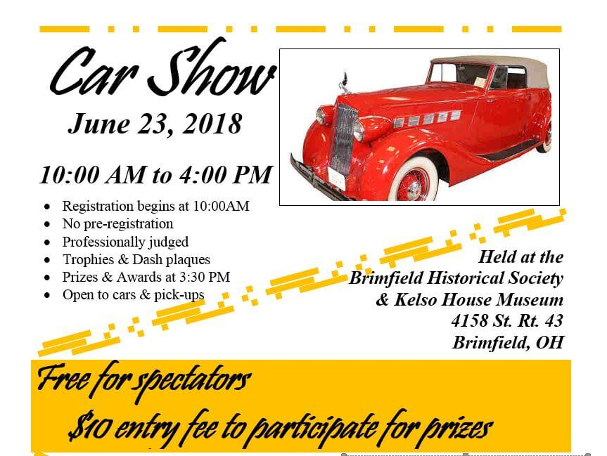 Kelso House Museum Car Show Central Portage County - Car show trophies dash plaques